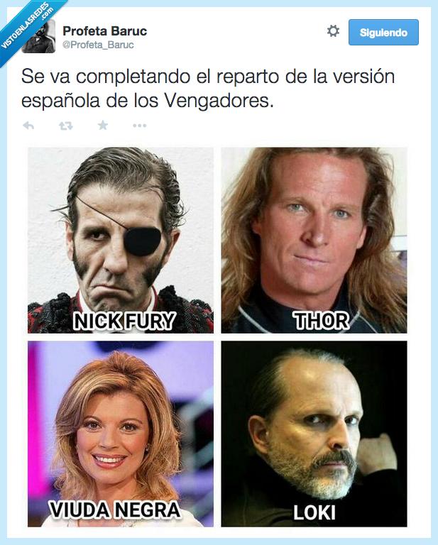 completando,española,Miguel Bosé,Nick Fury,Pocholo,reparto,Terelu,Thor,Vengadores,version