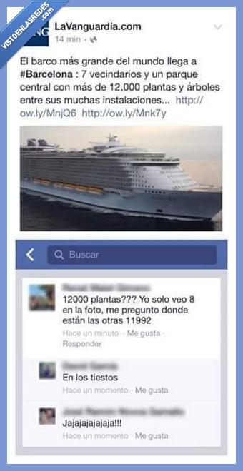 Barcelona,barco,gigante,grande,la vanguardia,plantas,tiestos
