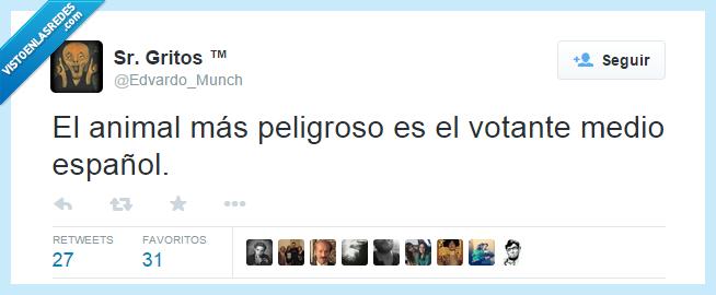 animal,español,medio,peligro,peligroso,tontaco,votante,votar