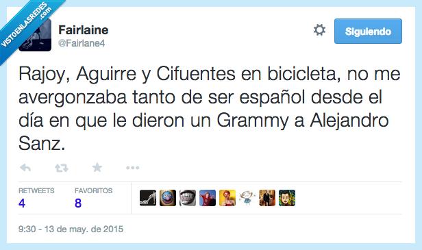 Aguirre,Alejandro Sanz,avergonzaba,bicicleta,Cifuentes,España,español,Grammy,Rajoy,tanto,verguenza