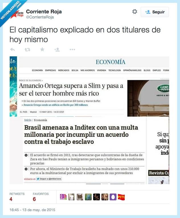 amancio ortega,Brasil,capitalismo,denuncia,dinero,esclavitud,esclavo,fabrica,inditex,rico,Slim,titular