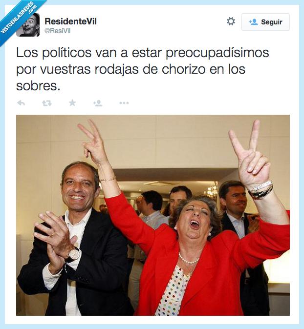 asi va españa,camps,chorizo,contenta,feliz,Rita Barberá,rodaja,sobre,votacion