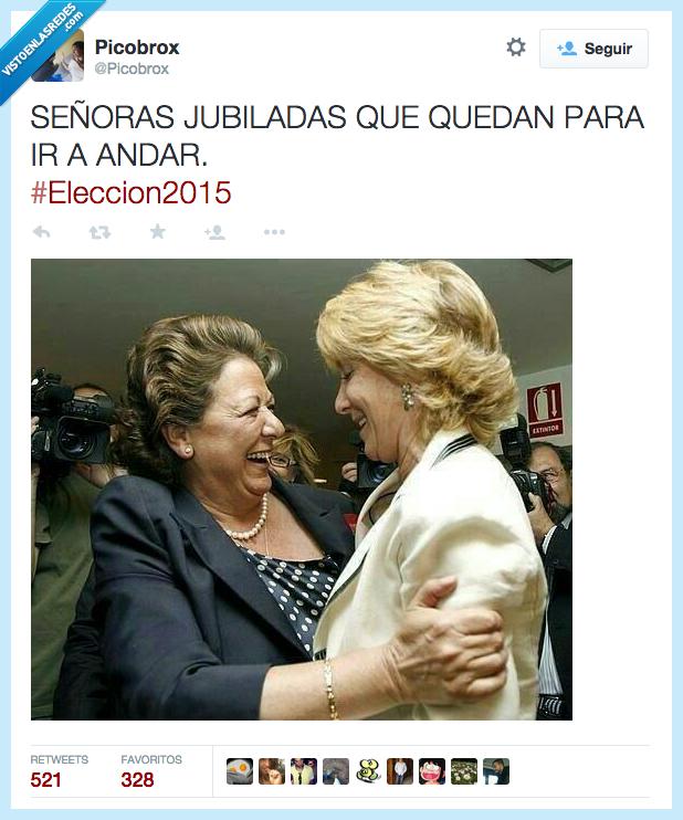 caminar,elecciones2015,España,Esperanza Aguirre,jubilada,politica,queda,Rita Barbera,señora