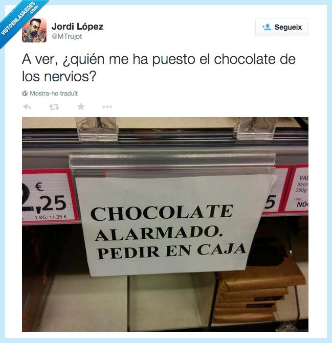 alarmado,caja,chocolate,miseria,supermercado