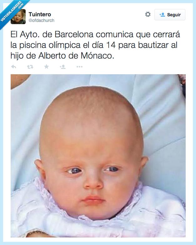 alberto,ayuntamiento,barcelona,bautizar,bebe,cabeza,cabezon,cerrar,comunica,hijo,monaco,olimpica,piscina
