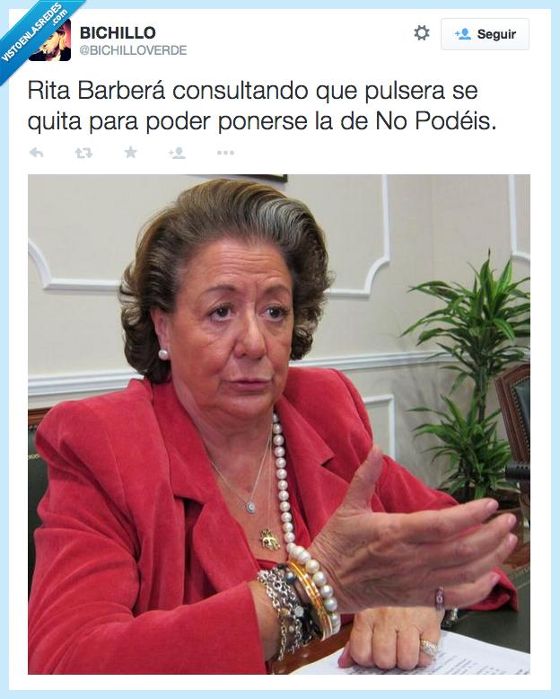 dinero,joyas,muchas,perlas,podemos,pulsera,pulserita,Rita Barbera