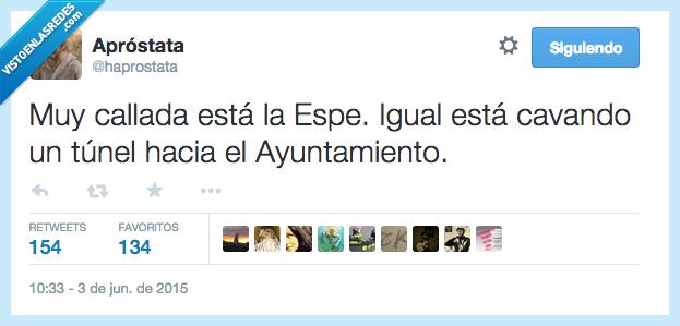 ayuntamiento,cavando,cavar,España,Espe,Esperanza Aguirre,igual,política,tunel