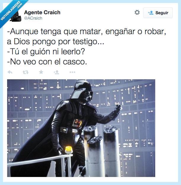caso,Darth Vader,dios,engañar,guion,inventado,inventar,leer,matar,robar,Star Wars,testigo,veo,ver