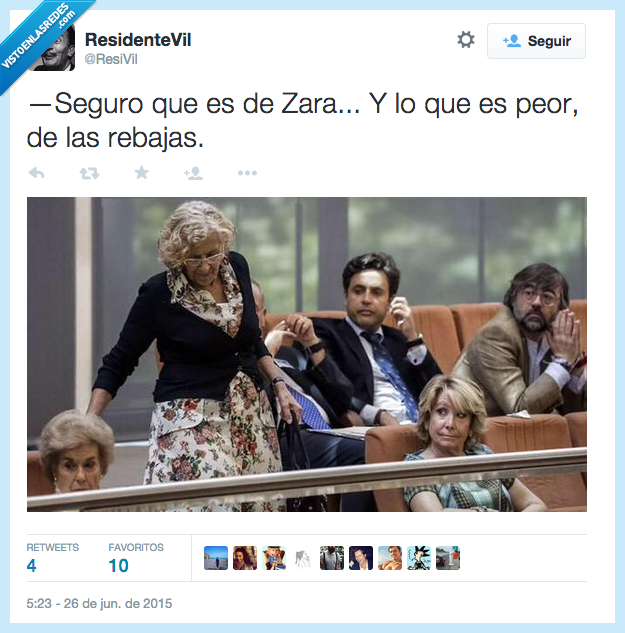 envidia,Esperanza Aguirre,Manuela Carmena,mirar,rebajas,vestido,Zara