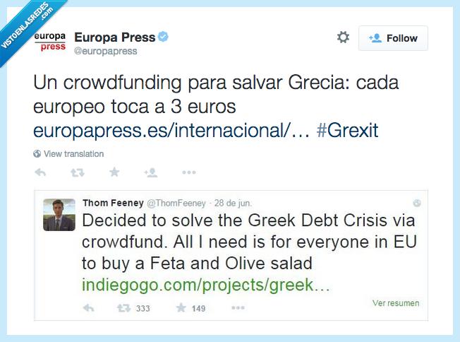 crowfunding,ensalada griega,feta,grecia,loco