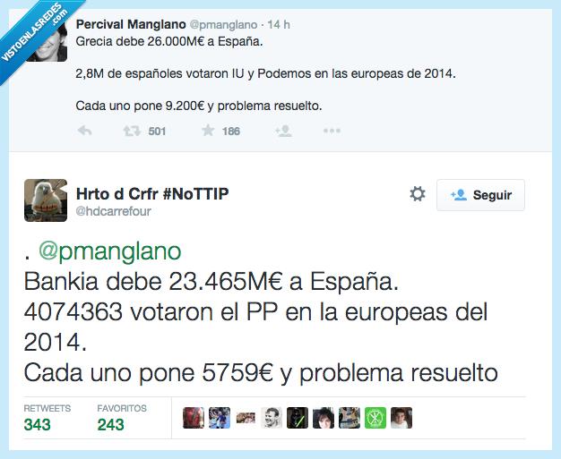 arreglar,banco,bankia,deuda,donar,España,Grecia,Podemos,rescate,votante