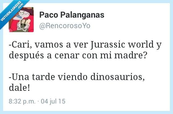 cenar,dinosaurio,Jurassic World,madre,tarde,ver,viendo