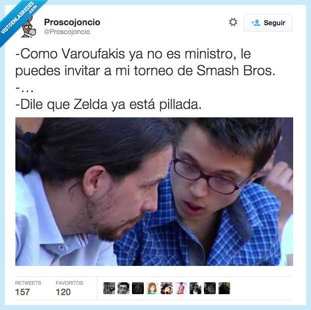 Errejon,Grecia,ministro,Pablo Iglesias,pillada,Podemos,Smash Bros,varoufakis,zelda