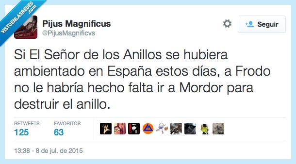 ambientado,anillo,calor,destruir,España,hacer falta,hubiese,infierno,Mordor,no,Señor de los Anillos