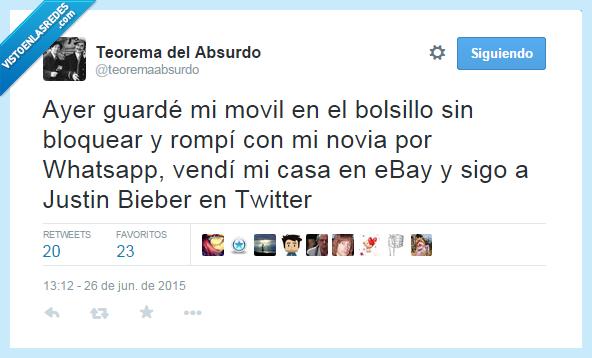 dejar,eBay,Justin Biever,móvil,novia,seguir,twitter,vender