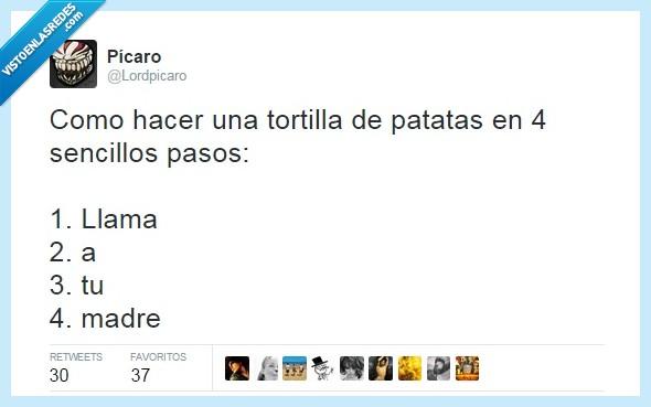 cocinar,hambre,madre,mamá,patatas,receta,tortilla