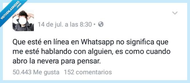 alguien,En línea,hablar,ignorar,línea,nevera,pensar,significa,significar,whatsapp