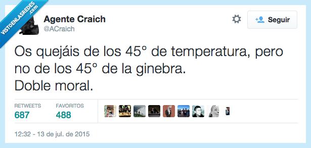 45,alcohol,beber,bebida,calor,doble moral,ginebra,grados,graduación,sombra,temperatura