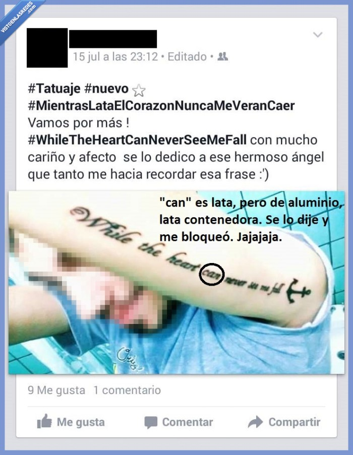 beat,can,chorrada,facebook,fail,foto,Google Translate ataca de nuevo,ingles,lata,latir,tatoo,traducción