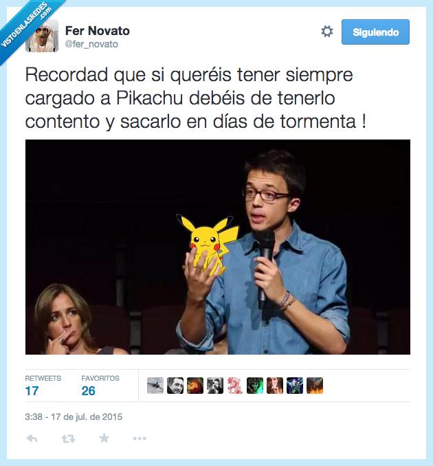 consejo,contento,Errejon,feliz,Pikachu,Podemos,Pokemon,sacar,tener,tormenta