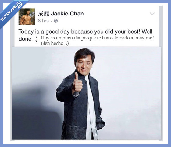 actor,animar,buen,dia,esforzar,esfuerzo,Jackie Chan