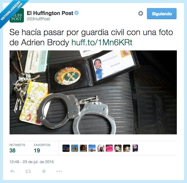 Adrien Brody,esposas,foto,Guardia Civil,impostor,policia