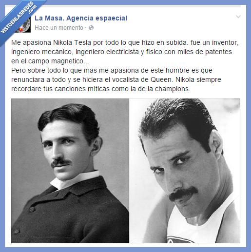 cantante,confusión,Freddie Mercury,ingeniero,Nikola tesla,Queen