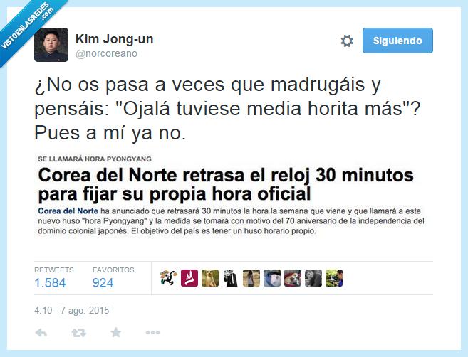 Corea del Norte,dormir,meda hora,reloj,retrasar