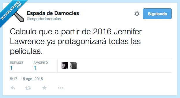2016,calcular,Jennifer Lawrence,películas,protagonizar,todas