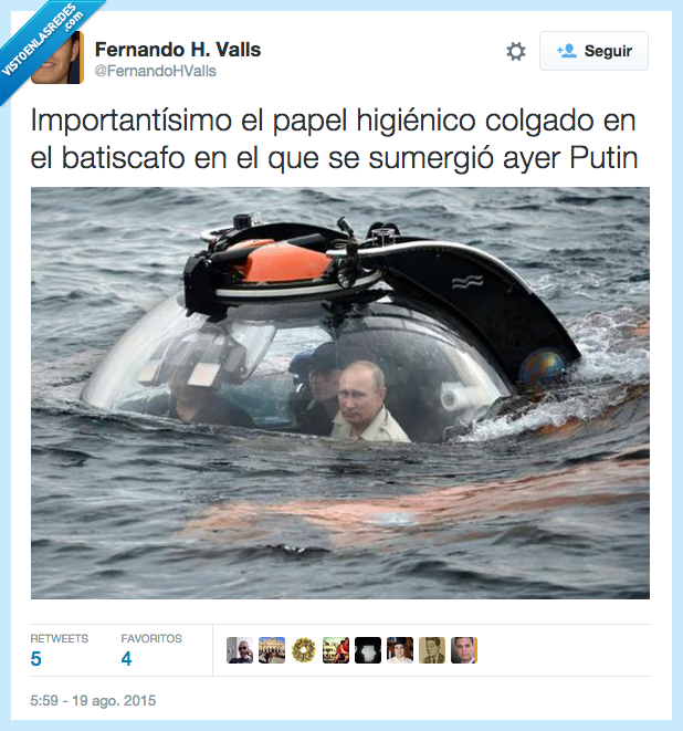 batiscafo,higienico,importantísimo,paper,Putin,rollo,Rusia,Rusos,sumergir,water