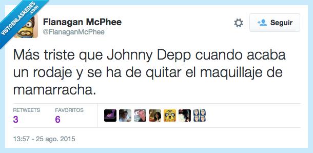 desmaquillar,Johnny Depp,mamarracha,maquillaje,quitar,triste