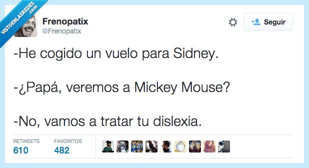 dislexia,Disney,Mickey Mouse,Sidney,vuelo