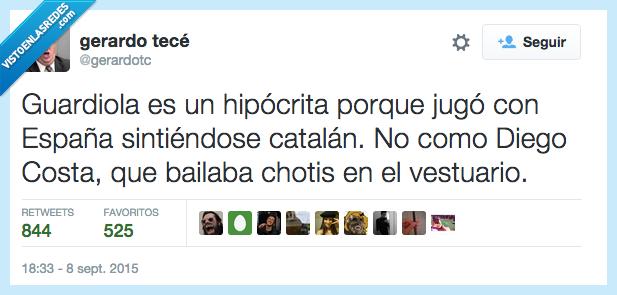 catalán,Cataluña,chotis,Diego Costa,España,Guardiola,hipócrita,jugar,sentir,sintiendose,vestuario
