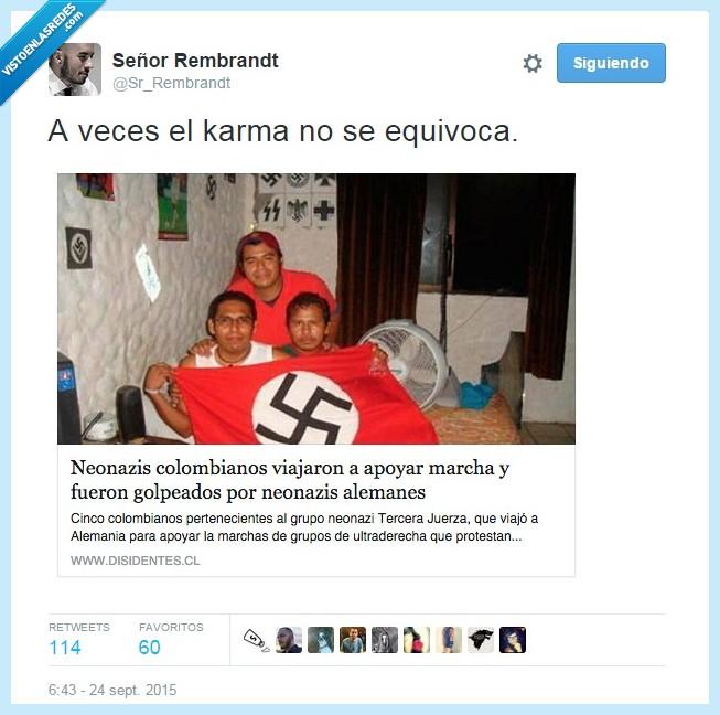 alemanes,esvastica,golpeados,marcha,nazis,neonazis colombianos,paliza