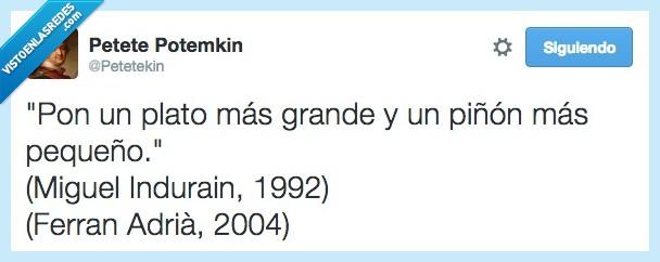 deconstrucción,Ferran Adria,grande,Indurain,pequeño,piñon,plato