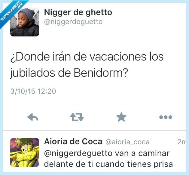 Benidorm,bloquear,caminar,delante,donde,jubilado,prisa,vacaciones