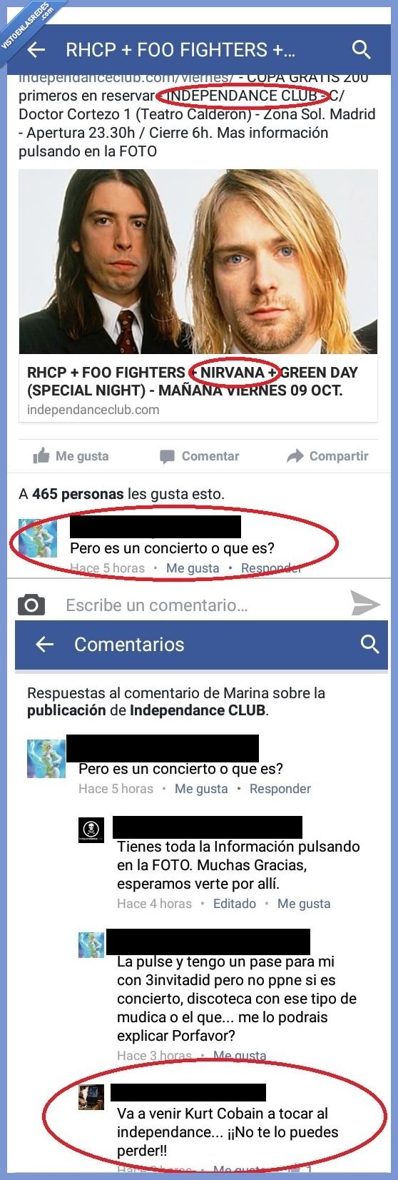 Concierto,Facebook,Kurt Cobain,Nirvana