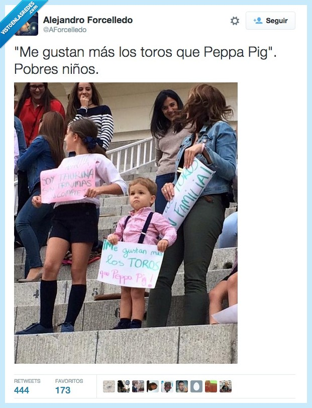 bebe,crio,hijo,niño,Peppa Pig,taurina,taurino,tauromaquia,toro