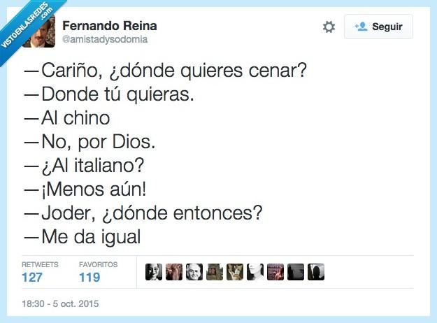 cariño,cenar,chino,donde,elegir,italiano,opciones,restaurante,sitio