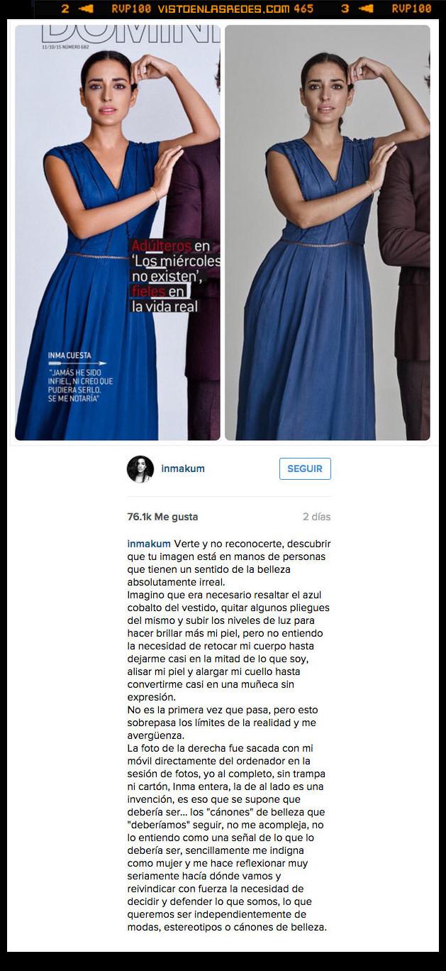actriz,demasiado,indignada,Inma Cuesta,instagram,montaje,photoshop,queja,retoque
