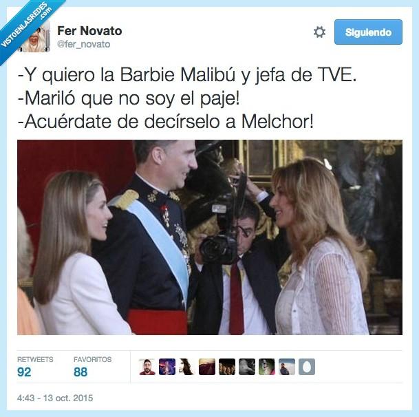 Barbie Malibú,decir,Felipe,jefa,Letizia,mago,Mariló Montero,Melchor,paje,pedir,Reina,Rey,TVE