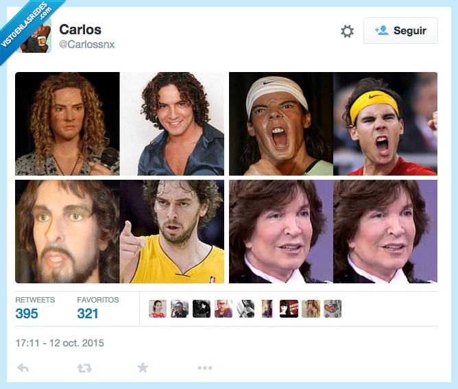 Camilo Sesto,cera,David Bisbal,figura,muñeco,Pau Gasol,Rafa Nadal