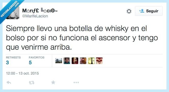 arriba,ascensor,beber,bolso,botella,funcionar,llevar,llevo,siempre,venir,whisky