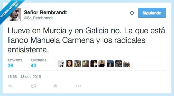 antisistema,Galicia,llover,llueve,lluvia,Manuela Carmena,Murcia,radical