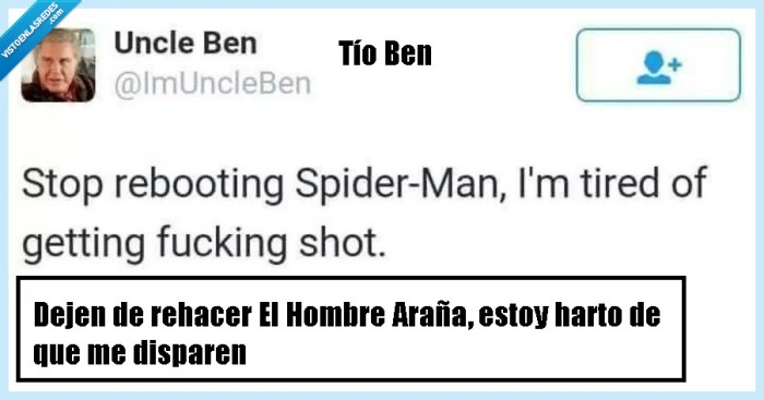 disparar,dolor,hombre araña,matar,reboot,spiderman,tio ben,uncle ben