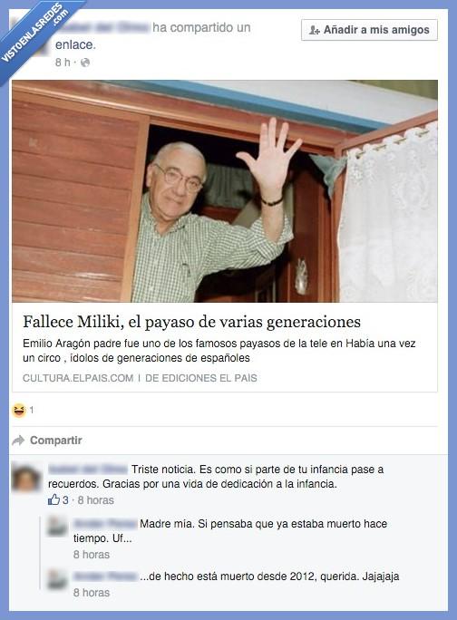 Comentario,Facebook,FAIL,fallecimiento,Miliki,morir,muerto,noticia
