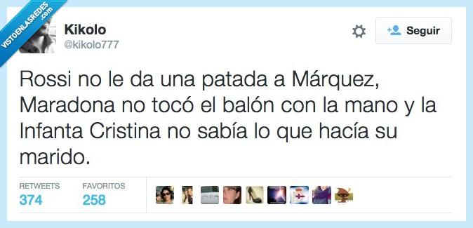 balon,Infanta Cristina,la manita de Dios,mano,Maradona,marido,Marquez,negando,negar,obviedad,patada,Rossi,tocar,Urdangarín