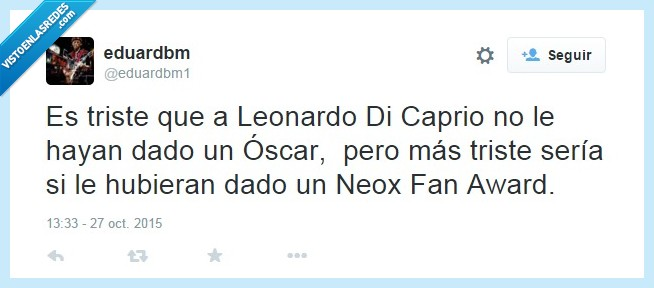 Leonardo Dicaprio,neox fan award,oscar,premio,triste