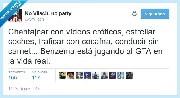 Benzema,Grand Theft Auto,GTA,jugar,Madrid,traficar,Video,videos