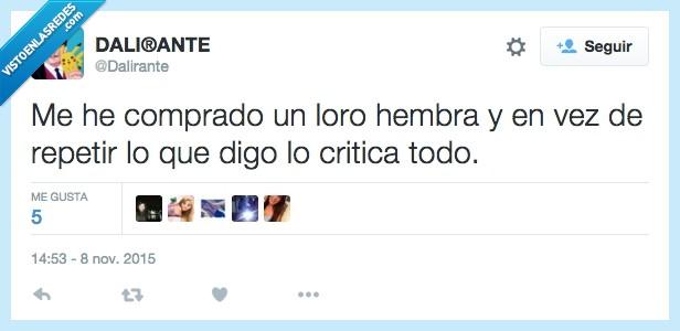 criticar,dalirante,loro,mujer,repetir,twitter